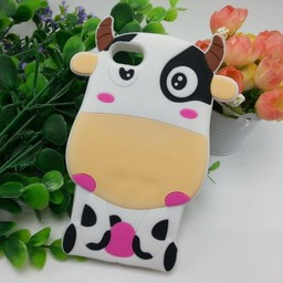 Iphone 5(S) en 5(C) siliconen 3D hoesje Pink Cow