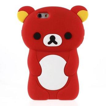 Iphone 5 (S) en 5C Siliconen hoesje Rilakkuma beer rood