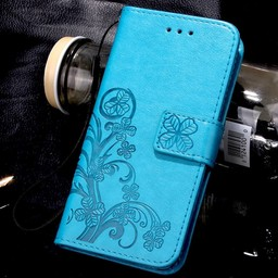 Huawei Ascend P8 Lite Wallet Book Case Flower Green/Blue