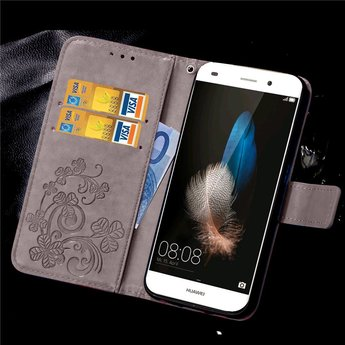 Huawei Ascend P9 Lite Wallet Book Case Flower Black