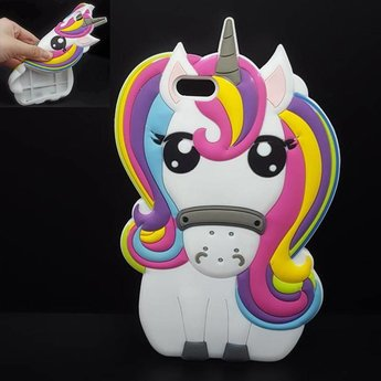 Iphone 5 (S) en 5C Siliconen hoesje Unicorn Rainbow