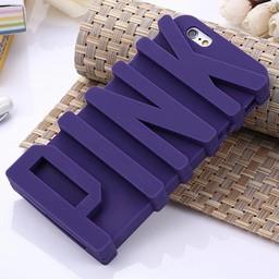 Iphone 5(S) en 5(C) siliconen 3D hoesje PINK Paars