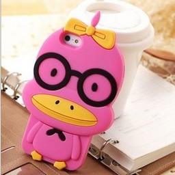 Iphone 5(S) en 5(C) siliconen 3D hoesje Pink Duck