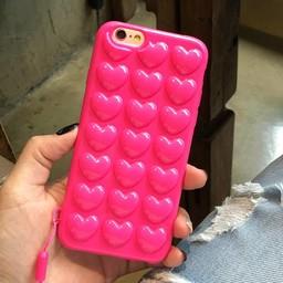 Iphone 6 (4,7 inch) siliconen hoesje 3D Hartjes donker rose