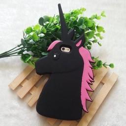 Iphone 5 (S) en 5C Siliconen hoesje Unicorn Zwart