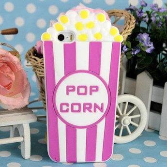 Iphone 5(S) en 5(C) Siliconen hoesje Popcorn Rose