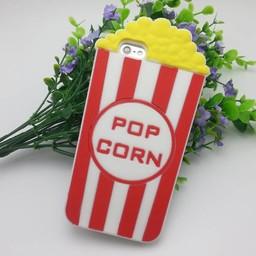 Iphone 5 (S) en 5C Siliconen hoesje Popcorn Rood