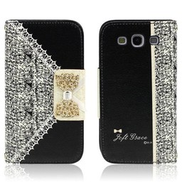 Samsung S3 PU lederen hoesje Wallet Bling Zwart