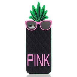 Iphone 5 (S) en 5(C) hoesje Ananas zwart