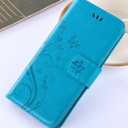 Iphone X Wallet  Leer Blauw