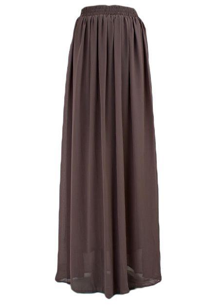 maxi rok lang donker grijs