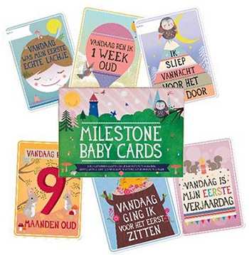 Milestone Nederlandse Milestone Baby Cards fotokaarten + GRATIS kaart Mijn Eerste Kerst