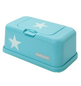 Funkybox wipes container turquoise blue with white stars
