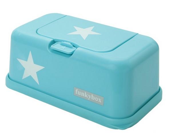Funkybox billendoekjes houder Turquoise blauw met witte sterren