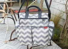 Gray and silver diaper bags