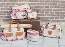 Pink and purple diaper bags