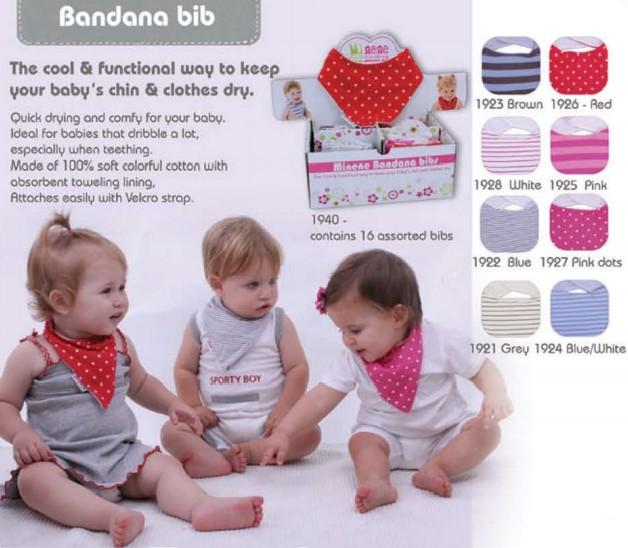 Minene bandana bibs pink (3pack) - Free Shipping