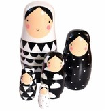 Petit Monkey Sketch Inc. Matroeska / babuska dolls white with black