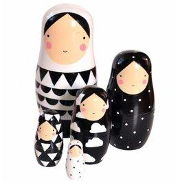 Petit Monkey Sketch Inc Nesting Dolls wit met zwart