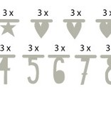 A Little Lovely Company Banner basics silver 75 pieces symbols and numbers (free shipping)