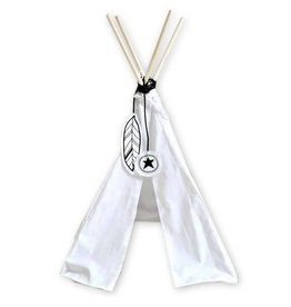 A Little Lovely Company Mini teepee black and white feather deco