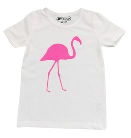 Tofshirt plain shirt with fuchsia flamingos