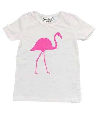 shirt effen met fuchsia flamingo