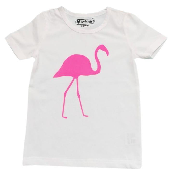 Tofshirt shirt effen met fuchsia flamingo - gratis verzending