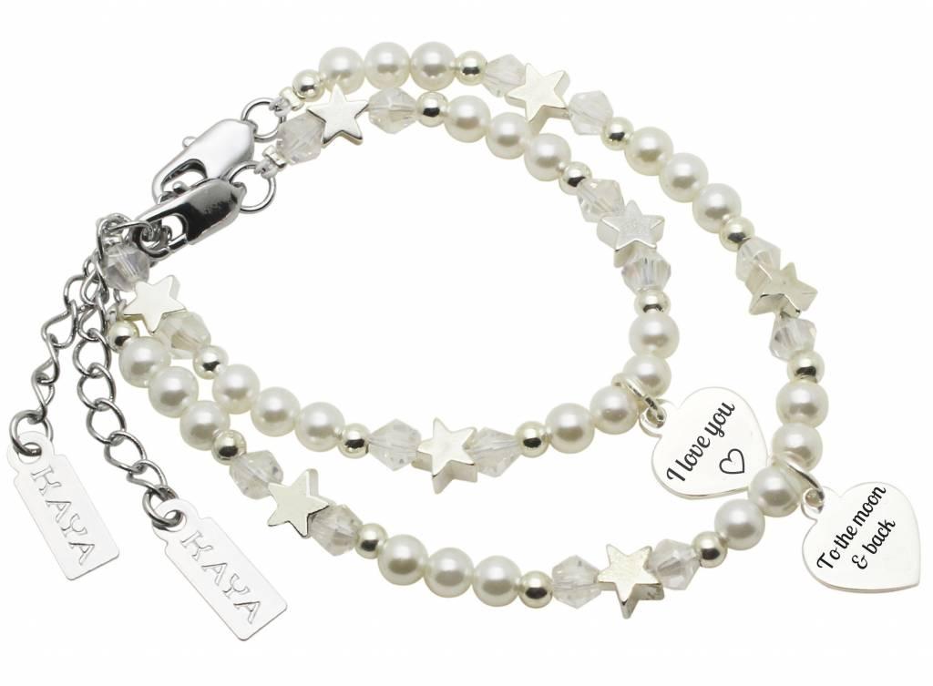 Kaya Sieraden moeder dochter armband set 'I love you ♡ - to the moon & back'