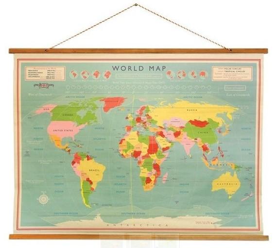Rexinter wereldkaart Vintage World 100cm