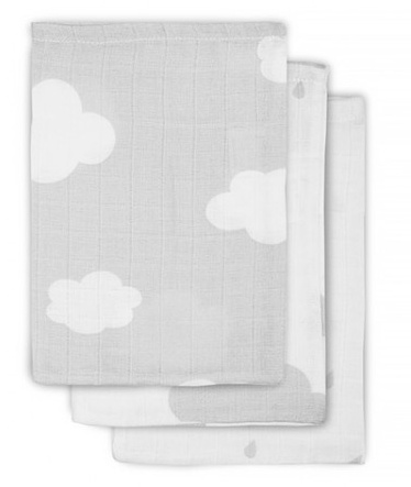 Jollein Hydrofiel washandje Clouds Grey (3pack)