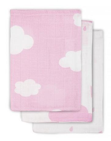 Jollein Hydrofiel washandje Clouds Pink (3pack)