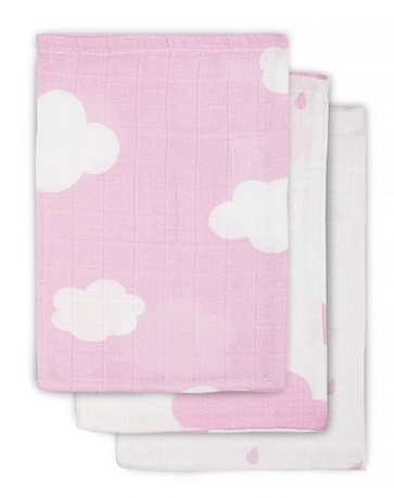 Jollein Hydrophilic facecloth Pink Clouds (3pack)