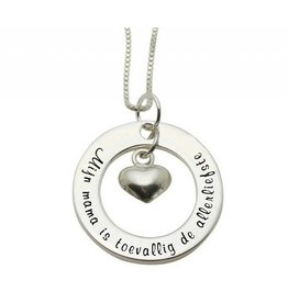 "Kaya Sieraden SILVER Necklace ""My mom happens to be the sweetest"""