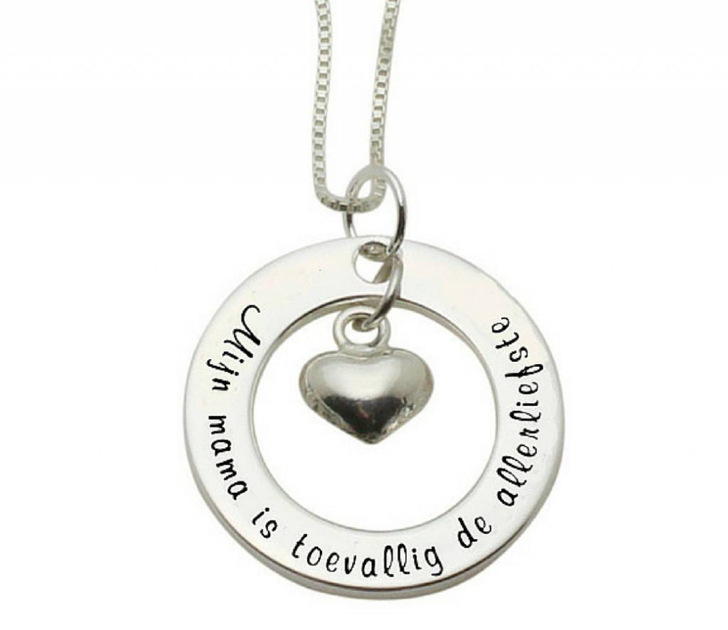 """Kaya Sieraden SILVER Necklace """"My mom happens to be the dearest 'free shipping NL"""