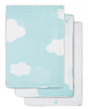 Jollein Hydrophilic washcloth Clouds Jade (3pack)