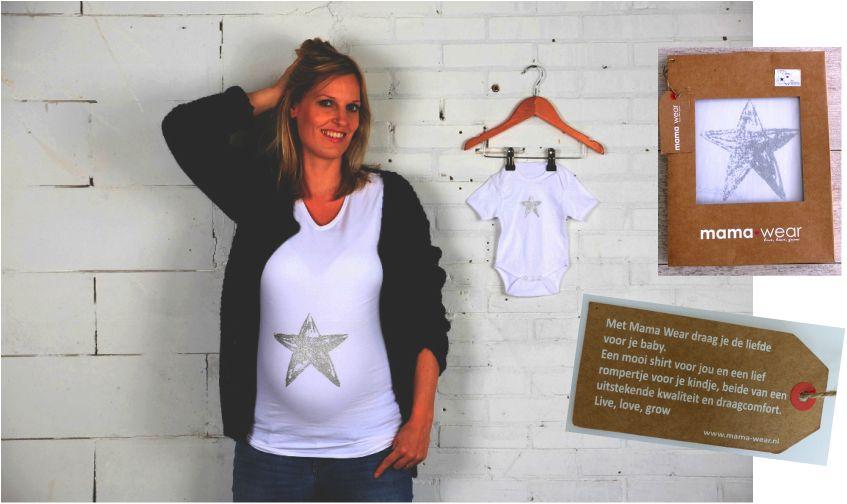 Mama Wear set zwangerschapsshirt en romper met zilveren ster