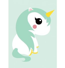 Studio Inktvis Unicorn greeting card mint
