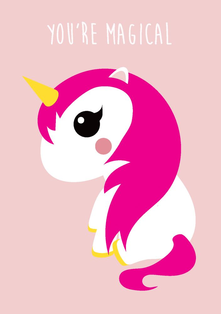 Studio Inktvis Unicorn greeting card pink