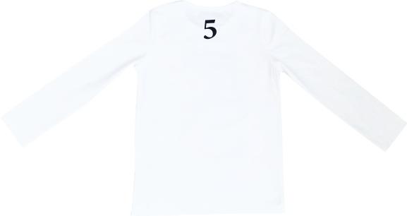 Tofshirt longsleeve effen met cijfer 5