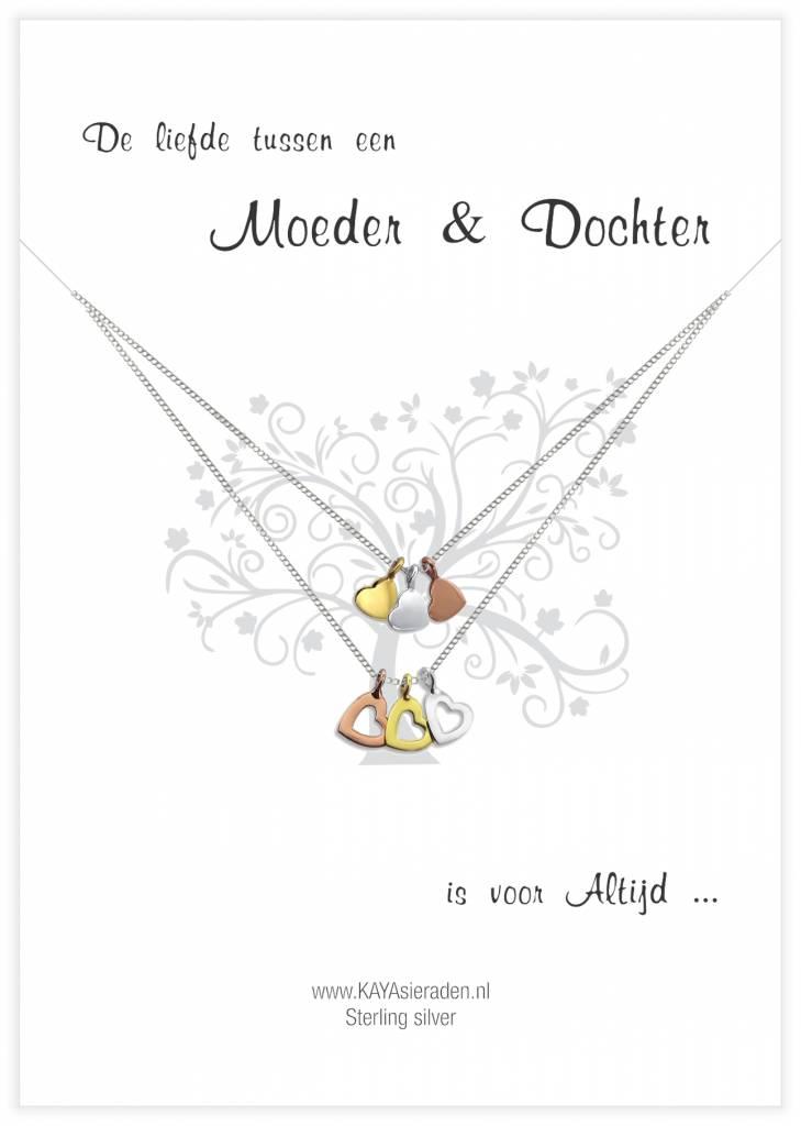 Kaya Sieraden wenskaart Moeder & Dochter met GOUDEN hartjes - gratis verzending NL