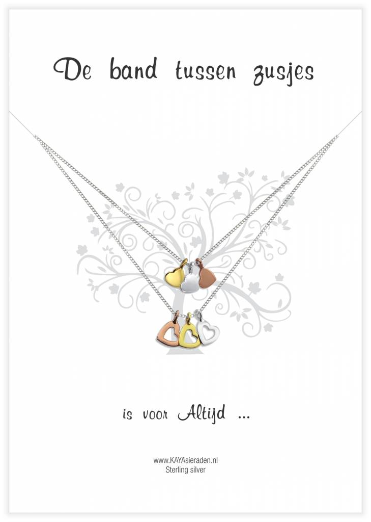 Kaya Sieraden Greeting Card Mother & Daughter with GOLD hearts - free shipping NL - Copy