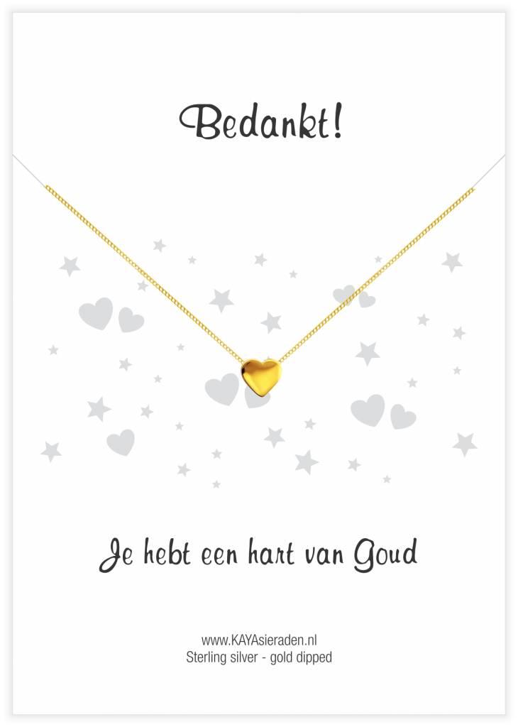 Kaya Sieraden wenskaart Bedankt, je hebt een hart van Goud