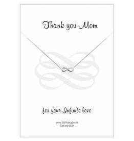 Kaya Sieraden Greeting Card Thank You Mom For Your Infinite Love with chain SILVER Infinity