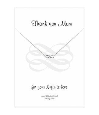 Kaya Sieraden wenskaart Thank You Mom For Your Infinite Love met ZILVEREN ketting Infinity