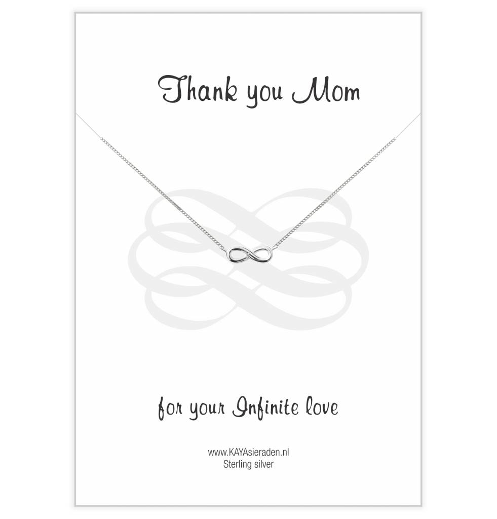 Kaya Sieraden Greeting Card Thank You Mom For Your Infinite Love to Infinity SILVER necklace - free shipping NL
