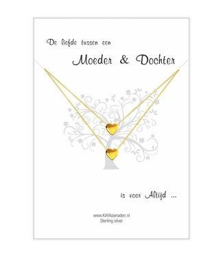 Kaya Sieraden greeting card love between Mother & Daughter is always -Golden hearts
