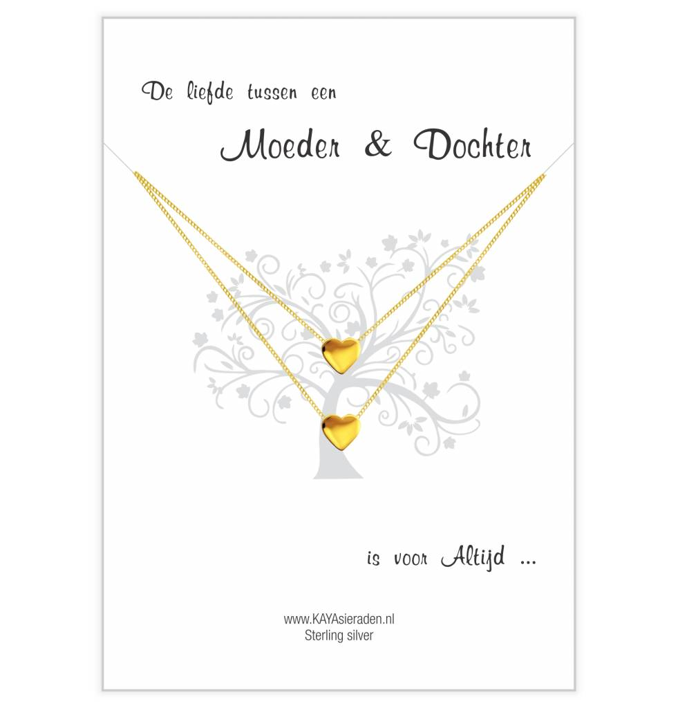 Kaya Sieraden greeting card love between Mother & Daughter is always -Golden hearts