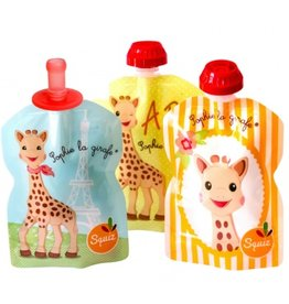 Squiz refillable squeeze pouches Sophie the Giraffe (3 pieces + 1 silicone tip)