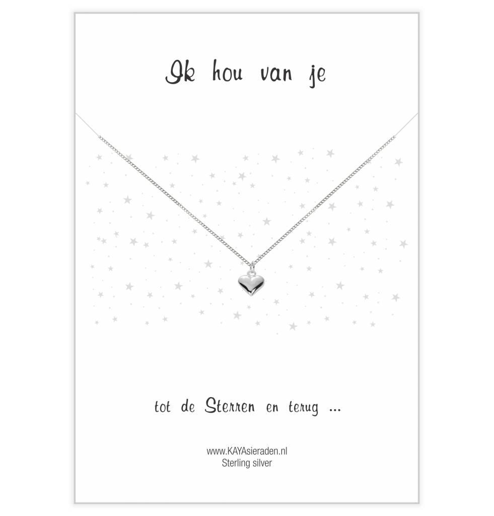 Kaya Sieraden postcard I Love Yours SILVER heart - Free Shipping NL